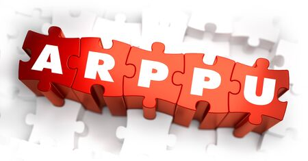 paying: ARPPU - Average Revenue Per Paying User - Text on Red Puzzles with White Background. 3D Render.