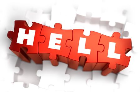 sinner: Hell - Text on Red Puzzles with White Background. 3D Render.