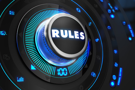 lawfulness: Rules Controller on Black Control Console with Blue Backlight. Improvement, regulation, control or management concept.