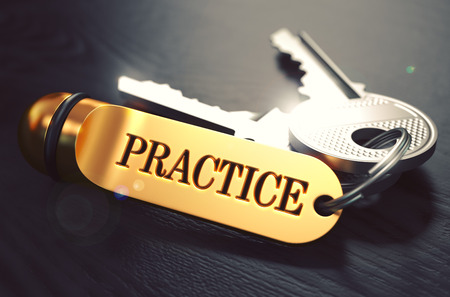 probation: Practice - Bunch of Keys with Text on Golden Keychain. Black Wooden Background. Closeup View with Selective Focus. 3D Illustration. Toned Image.