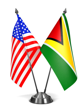 co operative: USA and Guyana - Miniature Flags Isolated on White Background. Stock Photo