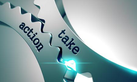 Take Action Concept sur le Mécanisme de Métal Cogwheels. Banque d'images
