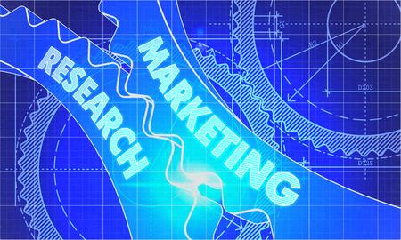 publicidad exterior: Marketing Research sobre el mecanismo de engranajes. Estilo Blueprint. Dise�o T�cnico. 3d ilustraci�n, Resplandor del objetivo.