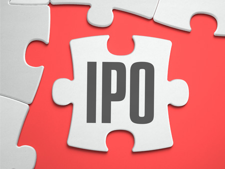 IPO - Initial Public Offering - Text on Puzzle on the Place of Missing Pieces. Scarlett Background. Close-up. 3d Illustration.