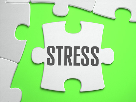 convalescence: Stress - Jigsaw Puzzle with Missing Pieces. Bright Green Background. Close-up. 3d Illustration. Stock Photo