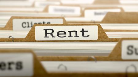 rent index: Rent Concept. Word on Folder Register of Card Index. Selective Focus.