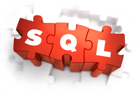 relational: SQL - Text on Red Puzzles with White Background. 3D Render.