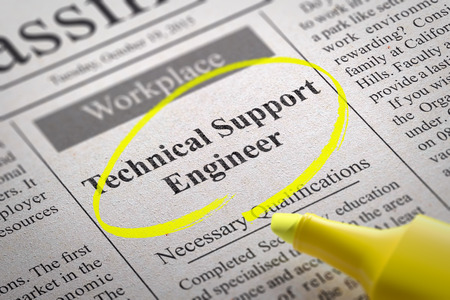 technically: Technical Support Engineer Vacancy in Newspaper. Job Search Concept. Stock Photo