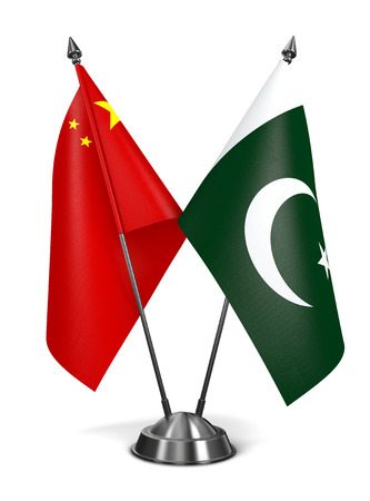 china chinese: China and Pakistan - Miniature Flags Isolated on White Background.