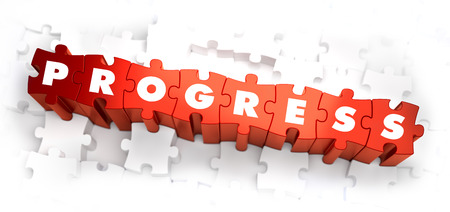 advancement: Progress - White Word on Red Puzzles on White Background. 3D Render.