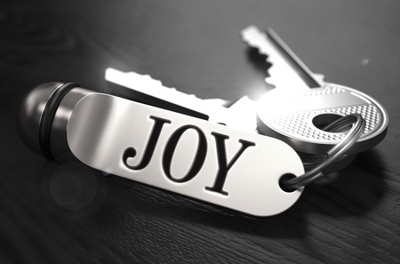 exaltation: JOYConcept. Keys with Keyring on Black Wooden Table. Closeup View, Selective Focus, 3D Render. Black and White Image. Stock Photo