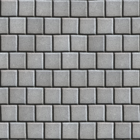 laid: Concrete Pavement Laid as Gray Small Square. Seamless Tileable Texture. Stock Photo