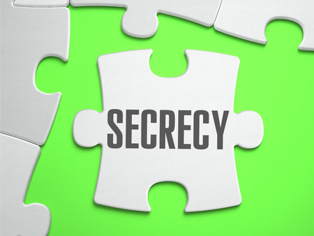 secrecy: Secrecy - Jigsaw Puzzle with Missing Pieces. Bright Green Background. Close-up. 3d Illustration.