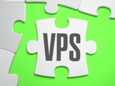 private domain: VPS - Virtual Private Server - Jigsaw Puzzle with Missing Pieces. Bright Green Background. Close-up. 3d Illustration.