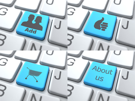 consisting: E-Shopping Concept - Blue Button on Keyboard Consisting of Share. Stock Photo