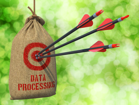 structuring: Data Processing - Three Arrows Hit in Red Target on a Hanging Sack on Natural Bokeh Background.