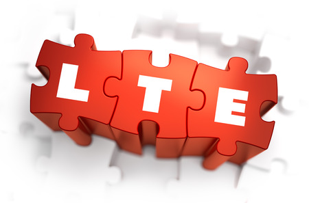 long term evolution: LTE - Long Term Evolution - Text on Red Puzzles with White Background. 3D Render.