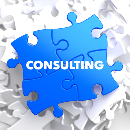 color consultant: Consulting on Blue Puzzle on White Background. Stock Photo