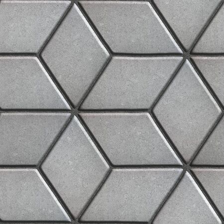 Gray Paving Slabs Laid Flower of Rhombuses. Seamless Tileable Texture.