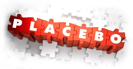 deceptive: Placebo - White Word on Red Puzzles on White Background. 3D Render.