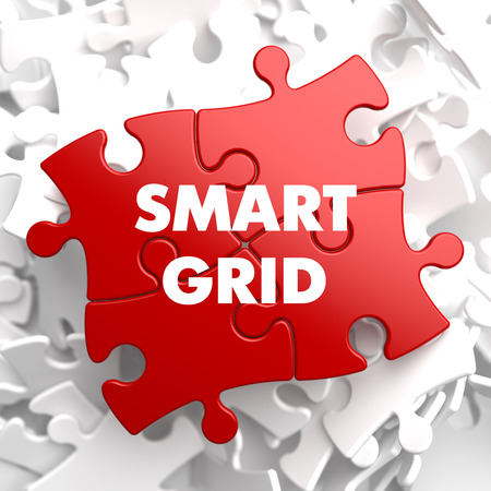 smart grid: Smart Grid on Red Puzzle on White Background.