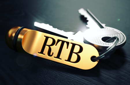 bidding: RTB - Real Time Bidding - Bunch of Keys with Text on Golden Keychain. Black Wooden Background. Closeup View with Selective Focus. 3D Illustration. Toned Image. Stock Photo