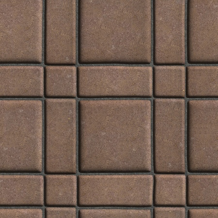 quadratic: Large Quadratic Brown Pattern Paving Slabs Built of Small Squares and Rectangles. Seamless Tileable Texture.
