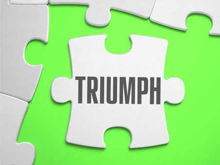 solemnity: Triumph - Jigsaw Puzzle with Missing Pieces. Bright Green Background. Close-up. 3d Illustration.