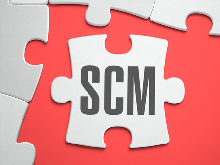 scm: SCM - Supply Chain Management - Supply Chain Management - Text on Puzzle on the Place of Missing Pieces. Scarlett Background. Close-up. 3d Illustration. Stock Photo