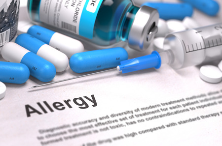 immunotherapy: Diagnosis - Allergy. Medical Report with Composition of Medicaments - Blue Pills, Injections and Syringe. Blurred Background with Selective Focus.