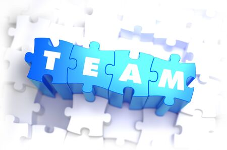 squad: Team - White Word on Blue Puzzles on White Background. 3D Illustration. Stock Photo
