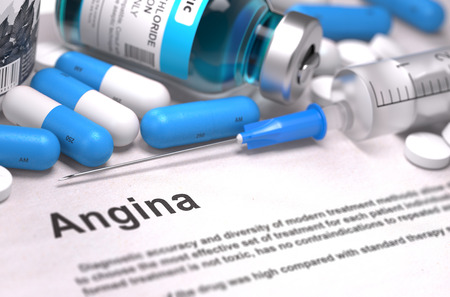 angina: Angina - Printed Diagnosis with Blurred Text. On Background of Medicaments Composition - Blue Pills, Injections and Syringe.