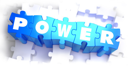 dictatorship: Power - Text on Blue Puzzles on White Background. 3D Render.