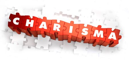 attractiveness: Charisma - White Word on Red Puzzles on White Background. 3D Illustration. Stock Photo