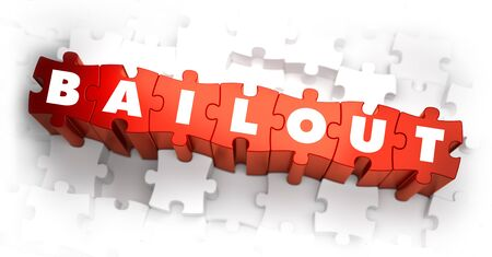 bailout: Bailout - White Word on Red Puzzles on White Background. 3D Illustration. Stock Photo