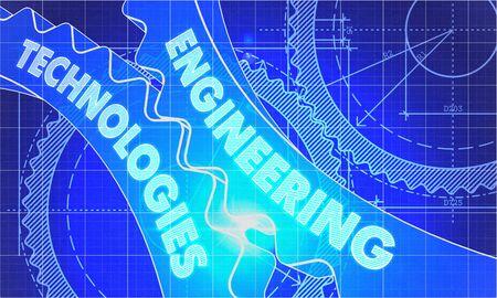 the maintenance: Tecnologías de Ingeniería sobre el mecanismo de ruedas dentadas. Estilo Blueprint. Diseño técnico. Ilustración 3D con destello de lente.