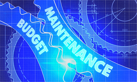 budget repair: Maintenance Budget on Blueprint of Cogs. Technical Drawing Style. 3d illustration with Glow Effect.