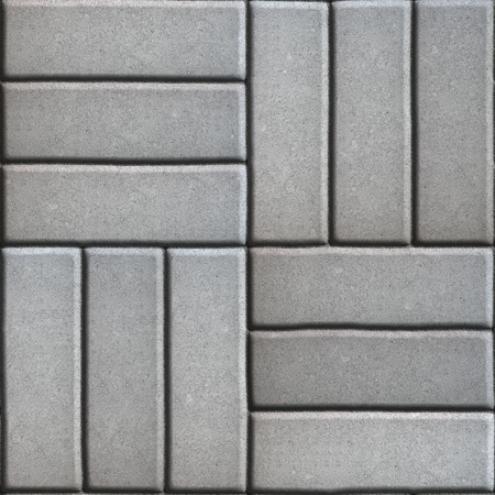 perpendicular: Gray Paving Slabs of Rectangles Laid Out on Three Pieces Perpendicular to Each Other. Seamless Tileable Texture.