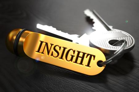 Schlüssel mit Word Insight am Golden Label über schwarzen Holz Hintergrund. Teilansicht, geringe Tiefenschärfe, 3D übertragen.