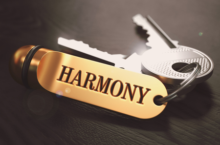 concordance: Keys with Word Harmony on Golden Label over Black Wooden Background. Closeup View, Selective Focus, 3D Render. Toned Image.