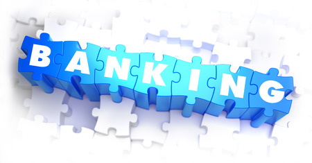 Banking - White Word on Blue Puzzles on White Background. 3D Illustration.