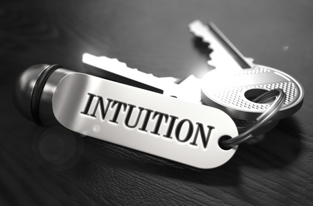 intuition: Intuition Concept. Keys with Keyring on Black Wooden Table. Closeup View, Selective Focus, 3D Render. Black and White Image.