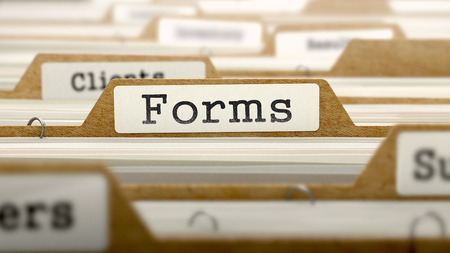 Forms Concept. Word on Folder Register of Card Index. Selective Focus. Stock Photo