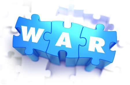 blockade: War - White Word on Blue Puzzles on White Background. 3D Illustration.