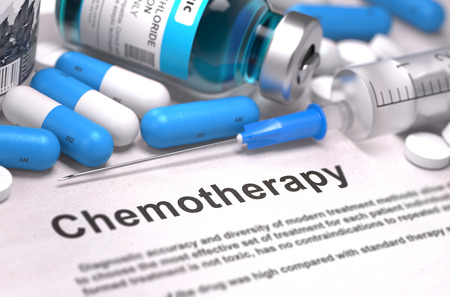 chemo: Chemotherapy - Printed with Blurred Text. On Background of Medicaments Composition - Blue Pills, Injections and Syringe.