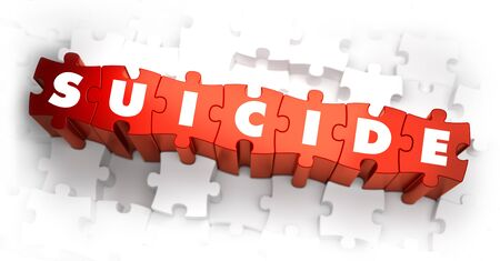 psychiatry: Suicide - Text on Red Puzzles with White Background. 3D Render. Stock Photo