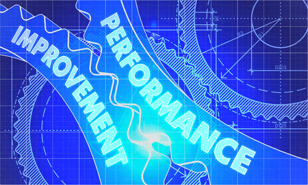 performance improvement: Performance Improvement on the Mechanism of Gears. Blueprint Style. Technical Design. 3d illustration, Lens Flare. Stock Photo