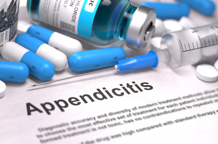 peritonitis: Diagnosis - Appendicitis Medical Concept with Blue Pills, Injections and Syringe.  Stock Photo