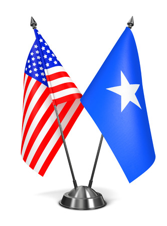 somalian culture: USA and Somalia - Miniature Flags Isolated on White Background.