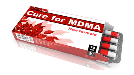 deliverance: Cure for MDMA - Red Open Blister Pack Tablets Isolated on White. Stock Photo